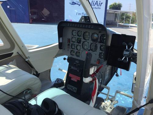 Bell206 cockpit helicopter pilot